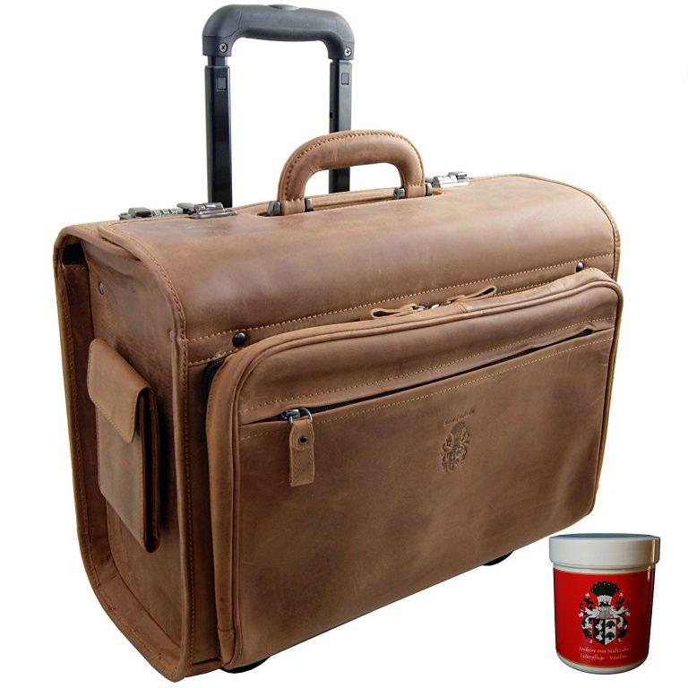 Beau et pratique, le cartable à roulettes en cuir vintage ou valise pilote signée le Baron de Maltzahn. Idéal pour maîtresse d'école ou prof de collège.