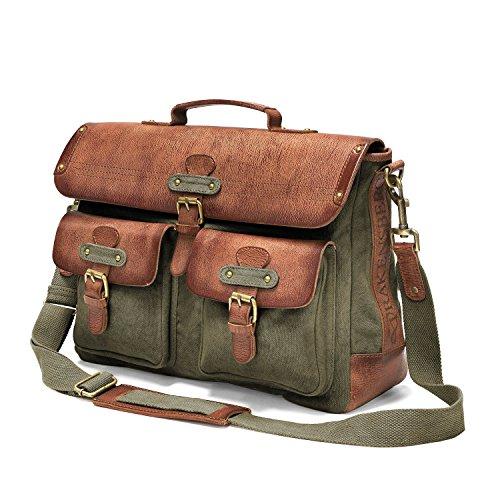 Dessous soigné pour ce sac bandoulière à fermoirs tuck, vert cognac en cuir et toile avec compartiment Laptop.