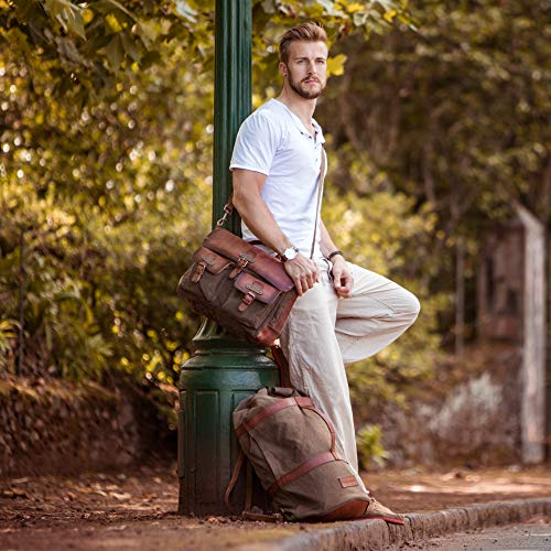 Sacoche cartable avec compartiment laptop idéal pour prof de lycée en cuir cognac et toile verte avec fermoirs tuck