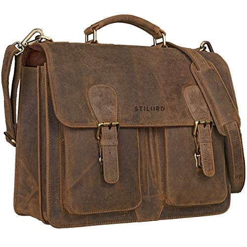 Cartable adulte en cuir marron vintage Stilord avec bandoulière
