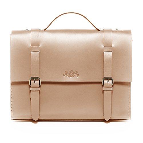 Cartable cuir beige unisexe avec compartiment laptop, serviette beige en cuir avec bandoulière pour laptop