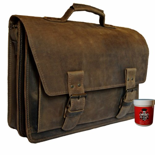 Cartable en cuir Vintage à 2 soufflets, cartable spacieux pour profs, grand cartable avec bandoulière Vintage amovible. Cartable à 2 soufflets en cuir marron.
