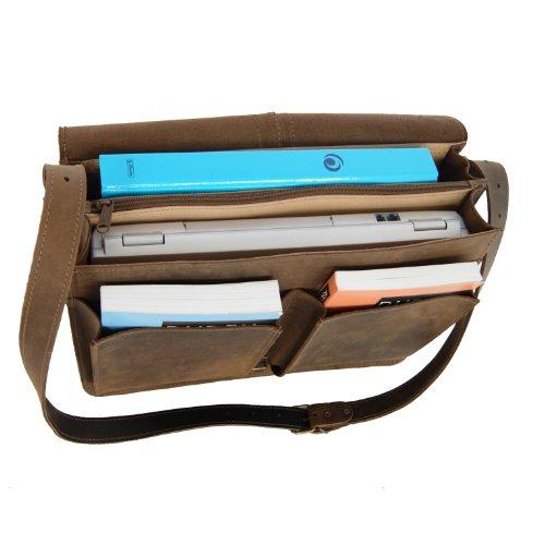 Bel espace pour ce sac cartable banboulière Plank, parfait pour les enseignantes. Serviette à 2 soufflets marron en cuir.