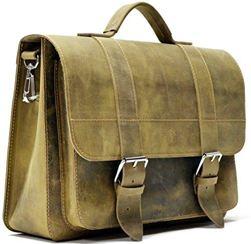 Sacoche cuir laptop 15 pouces look vintage fixation bagage vélo pour prof à vélo, tannage naturel cuir imperméable