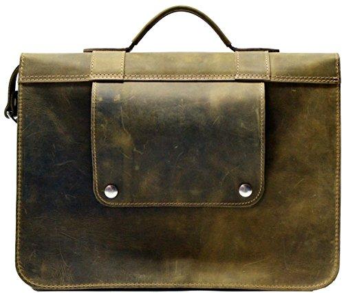Système de fixation pratique sur le porte-bagage arrière du vélo pour ce briefcase pour laptop en cuir vintage durable et tanné naturellement. Idéal pour les étudiants à vélo.