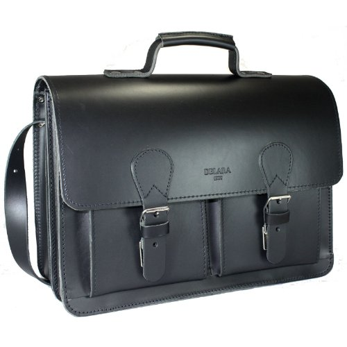 cartable cuir épais noir Delara avec tannage végétal 2 soufflets, esprit Old School emplacement laptop