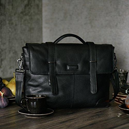 Cartable Atlanta cuir noir , 10 cm de profondeur, idéal pour les études
