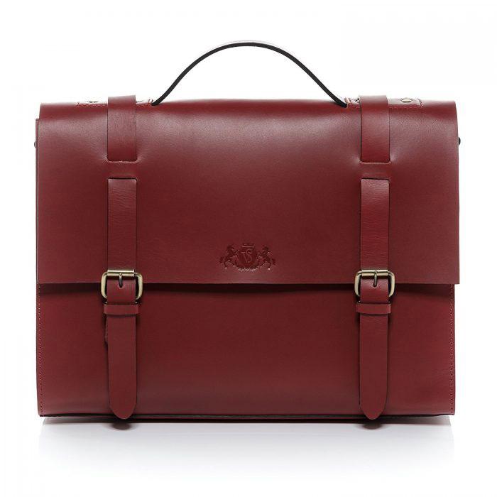Mini Cartable en cuir rouge mat, cuir de selle, de taille S, idéal comme sac à main ou sac à I pad pour femme active, étudiante ou enseignante, design vintage rétro, signé Sid & Vain.