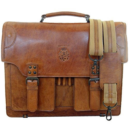 Cartable Kepler, cuir Vintage. Sa bandoulière cuir renforcée en nylon est ajustable et amovible.