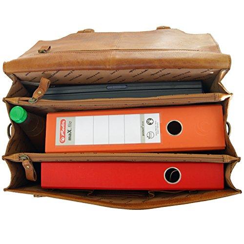 Le cartable artisanal Kepler permet un rangement soigné avec toutes ces poches et pochettes zippées.