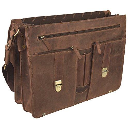 Cartable sac ordinateur pour enseignant, en cuir Vintage, look rétro, grande capacité. fermoirs clics et fermeture éclair. Cartable à 2 soufflets marron en cuir .