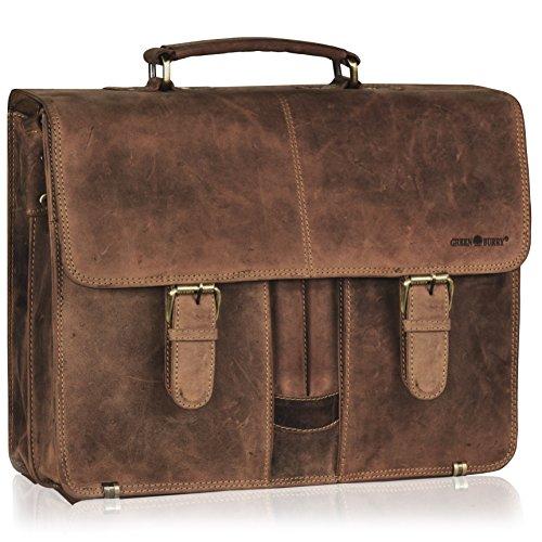 Ce cartable en cuir Vintage rétro à 2 soufflets pour enseignant avec compartiment laptop. Cartable à 2 soufflets en cuir marron.