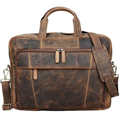 cartable stilord yves 2 compartiments en cuir pour laptop 15,6 pouces en cuir brun avec bandoulière