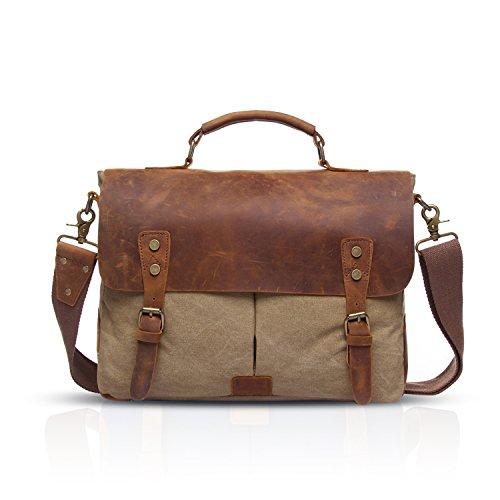Sac cartable Gootium cuir et toile beige unisexe pouvant contenir un laptop, sac solide et durable unisexe
