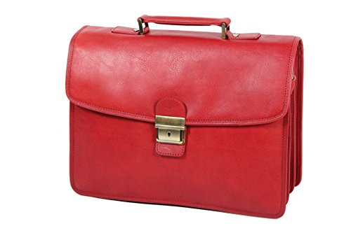 Le cartable working bag en cuir rouge gras pour femme Katana