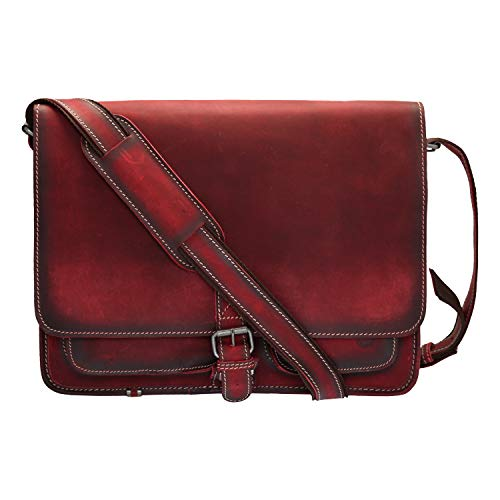 Cartable rouge antique en cuir original avec bandoulière Greenburry