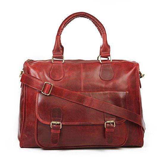 Cartable fourre-tout en cuir rouge antique idéal pour les profs qui voyagent ou qui ont besoin d'un grand espace de stockage.