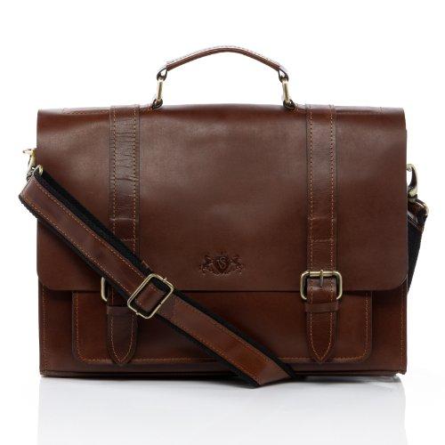 Porte-document briefcase cuir noir un compartiment ordinateur 15 pouces