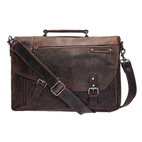 Look vintage vraiment peu ordinaire pour ce cartable sacoche en cuir marron Vintage sans chrome, Greenburry. Fermoirs tuck. Parfait pour les profs peu chargés ou les étudiants.