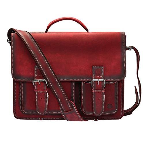 Cartable en cuir Greenburry rouge avec poches asymétriques. Cartable durable en cuir naturel qui respecte l'environnement. Grand cartable cuir prof.