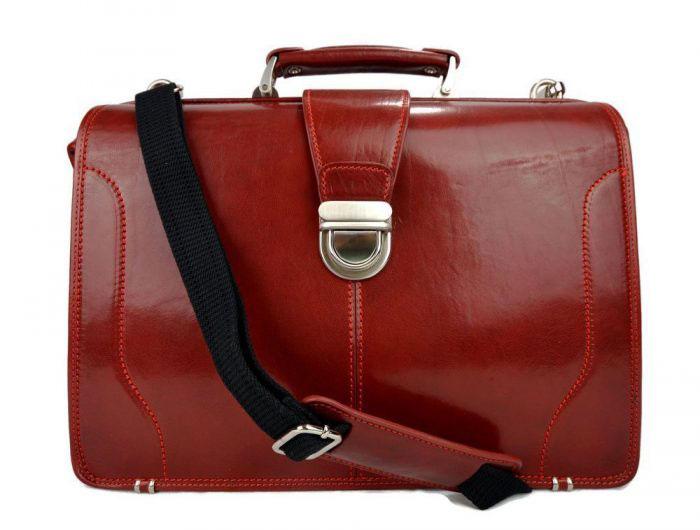 grand cartable cuir rouge fabrication artisanale italienne, cartable docteur XXL, tannage végétal, 3 soufflets pour femmes cartable professionnel