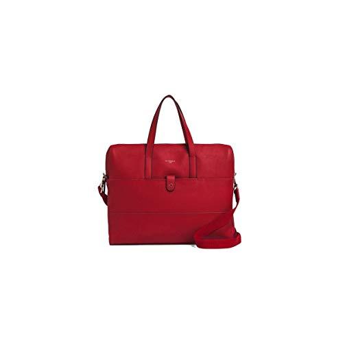 Grande sacoche cuir rouge grainé pleine fleur vachette pour ordinateur portable Le tanneur Violette, pour femme active sophistiquée, sac de travail urbain