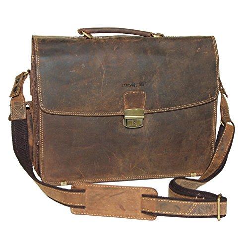 Cartable cuir Vintage pour ordinateur portable bien organisé, cartable cuir homme ou cartable cuir femme avec bandoulière et épaulette cuir. Ouverture et fermeture par fermeture éclair
