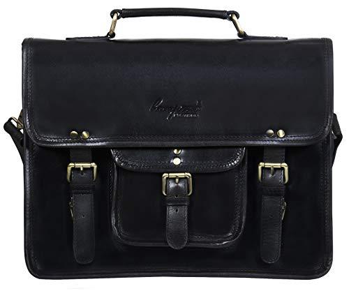 """Cartable unisexe en cuir de buffle pouvant contenir un notebook d'écran allant jusqu'à 15.4"""" ou de format DIN-A4, ainsi qu' un classeur.. Idéal comme grand sac de ville, esprit baroudeur et rustique vintage ou comme sac de cours."""