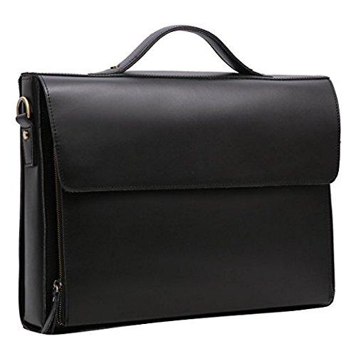 cartable serviette façon business, en cuir noir, design épuré Leathario. Cartable cuir à un seul compartiment.