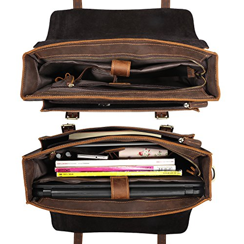 Cartable au design vintage et intemporel en cuir avec compartiment ordinateur