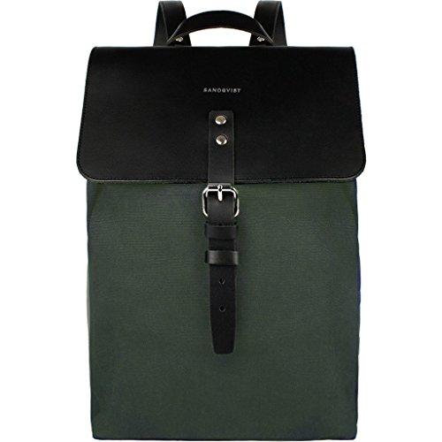 Sac à dos Sandqvist cuir noir et toile verte, sac à dos épuré fait pour durer, pour homme urbain élégant.