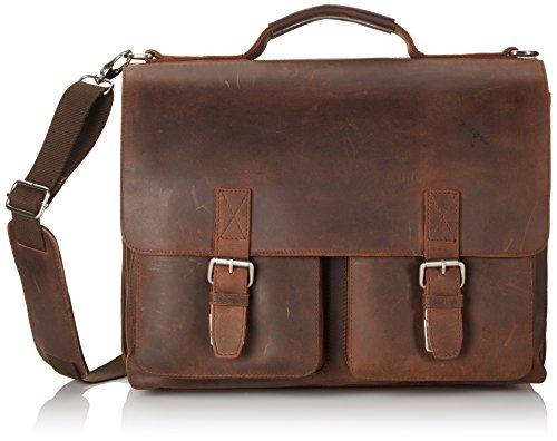 Cartable XXL en cuir Vintage Leonhard Heyden avec compartiment laptop pour adulte. Très grand cartable en cuir à 3 soufflets pour profs. Fermoirs tuck, cartable cuir avec bandoulière amovible pour homme.