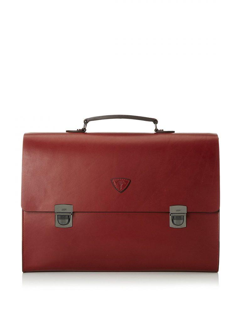 Cartable sacoche en cuir rouge bordeaux de taille XL, idéal comme sac de cours ou sac de travail, serviette cuir pour ordinateur portable pour femme active avocate enseignante, design traditionnel moderne épuré , joop