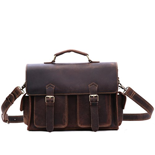 Petit cartable en cuir marron foncé ciré robuste façon cuir antique, pour un look rétro, vintage et baroudeur, avec ses 2 poches avant symétriques et ses poches latérales. Leathario