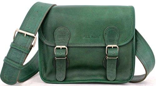 La sacoche en cuir souple vert taille S, 25x20x12 cm, cuir pleine fleur de buffle, fermetures extérieures à boucle, sacoche sac à main femme. Organisation intérieure bien compartimentée.Sacoche rétro.