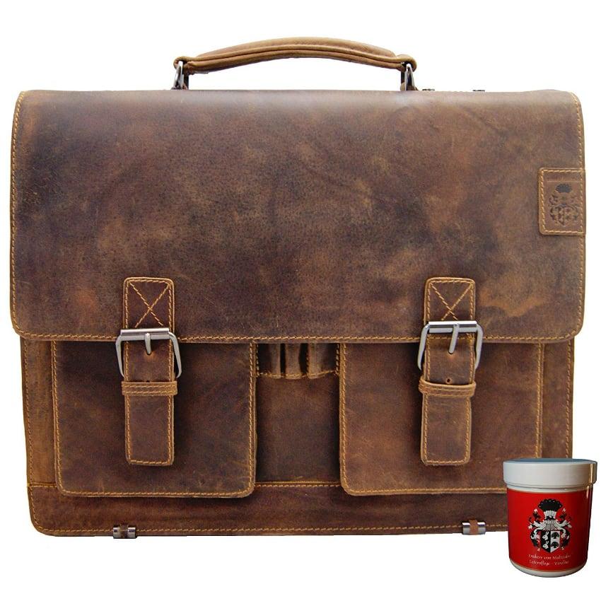 Le cartable Delara à 1 soufflet peut transporter un petit ordinateur portable en toute sécurité et bien calé grâce à son cuir épais, idéal pour l'enseignement.