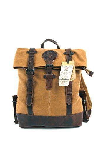 Design urbain et intemporel pour ce sac à dos en cuir et toile canevas, avec compartiment rembourré pour Laptop, couleur cognac et marron, Presly & Sun, Idéal pour un usage professionnel ou pour les étudiants comme sac de cours.