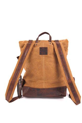 Bretelles bi-matière rembourrées et ajustables du sac à dos pour homme en cuir et toile canevas, solide et urbain, avec compartiment rembourré pour Laptop, couleur cognac et marron, Presly & Sun