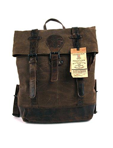 Sac à dos en cuir et toile canevas, avec compartiment rembourré pour Laptop, Presly & Sun, Idéal pour les déplacements à 2 roues.