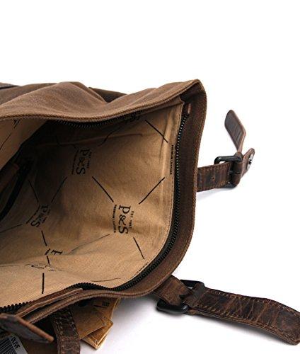 Intérieur du sac à dos en cuir et toile canevas, avec compartiment rembourré pour Laptop, Presly & Sun, Idéal pour les hommes urbains.