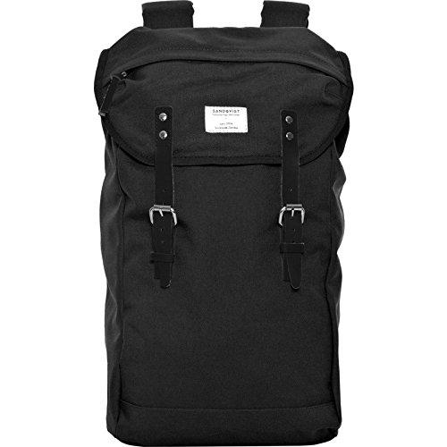 Spacieux sac à dos en cuir et toile canevas au design épuré et suédois. Sac à dos noir Cordura Sandqvist pour homme ou étudiant