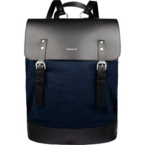 Sac à dos Sandqvist bleu et noir en canevas et cuir tanné, compartiment 15 pouces, H 42 x L 30 x P 15 cm