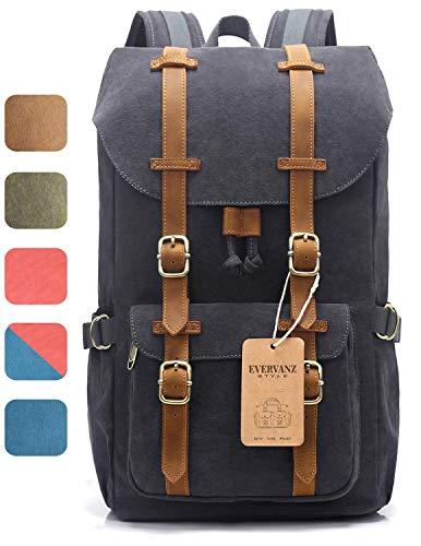 Design tendance pour ce grand sac à dos polyvalent, idéal pour la ville et les voyages en toile avec larges lanières cuir. EverVanz