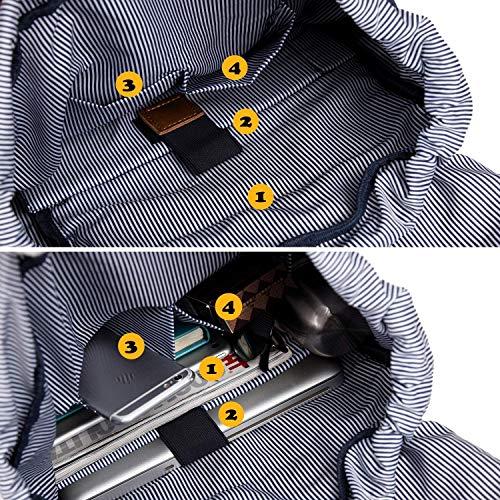Ce grand sac à dos cuir et toile polyvalent EverVanz possède beaucoup de rangements intérieurs et notamment un compartiment laptop 15 pouces.