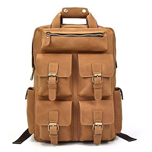 sac à dos homme multipoche en cuir de vachette marron clair avec emplacement laptop