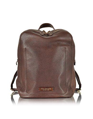 Petit sac à dos homme en cuir marque luxe The Bridge, cuir marron foncé grainé