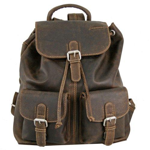 petit sac à dos cuir homme Greenland en cuir épais marron vintage 31cm x 12cm x 36cm