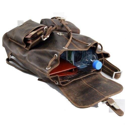 petit sac à dos homme en cuir vintage style urbain Greenland avec 2 poches jumelles