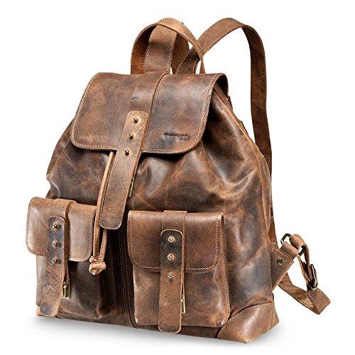 petit sac à dos étudiant cuir vintage esprit routard Greenland 37 cm