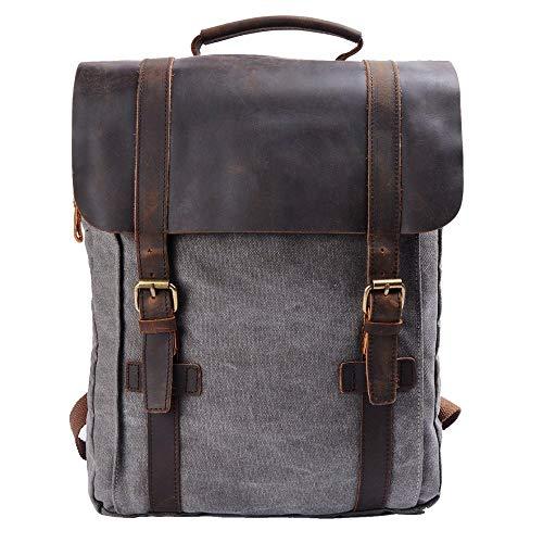 sac à dos cuir et toile gris pour ordinateur 15 pouces S-Zone pour étudiant